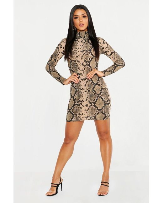 b72087d69f2bc Boohoo - Natural High Neck Long Sleeve Snake Ribbed Mini Dress - Lyst ...