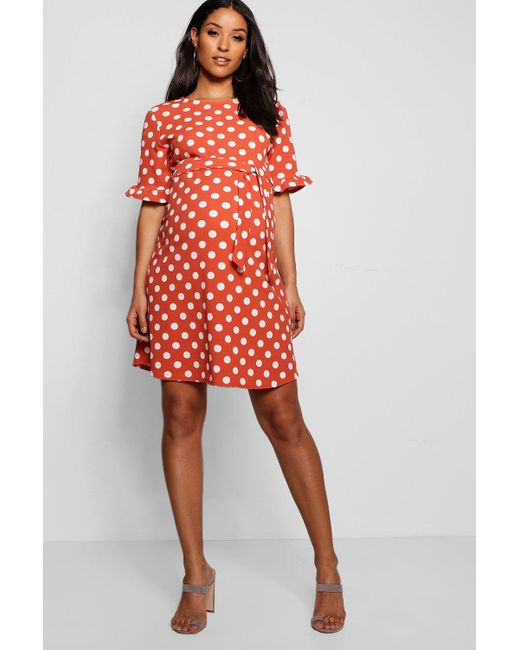 65e405ef804b Boohoo - Red Maternity Spot Print Ruffle Smock Dress - Lyst ...