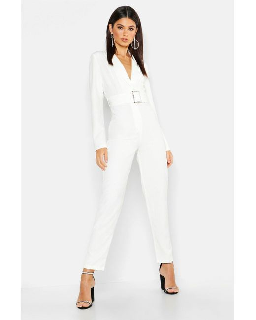 Boohoo - White Woven Blazer Diamante Buckle Belted Jumpsuit - Lyst