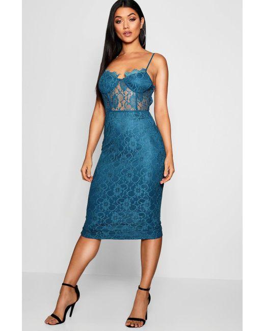 9102843c714f8 Boohoo - Blue Lace Cup Detail Midi Dress - Lyst ...