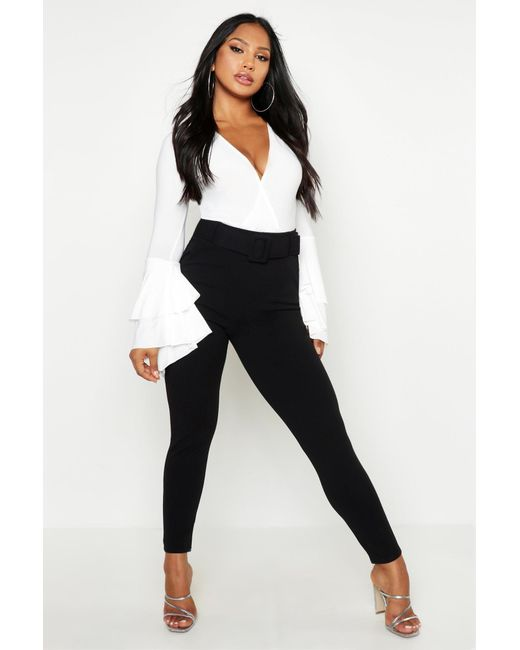 08f5908a795d Boohoo - Black Belted Skinny Stretch Trousers - Lyst ...