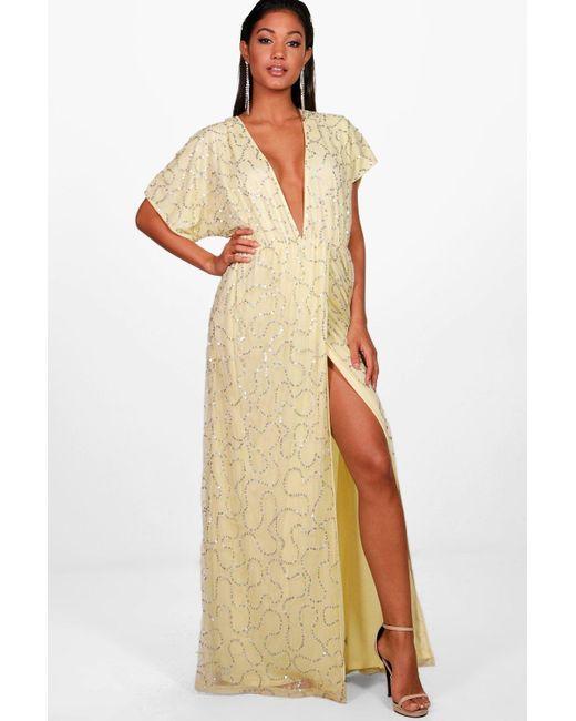 e79154a87370 Boohoo - Yellow Boutique Sequin Tie Back Maxi Dress - Lyst ...