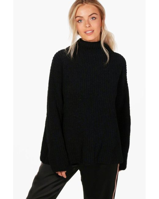 Boohoo - Black Chenille Knit Funnel Neck Jumper - Lyst