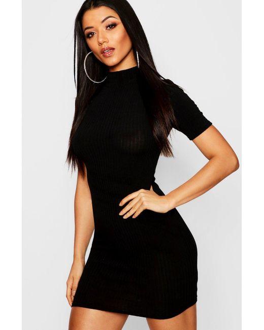 c4e83676955c Boohoo - Multicolor High Neck Rib Knit Bodycon Mini Dress - Lyst ...