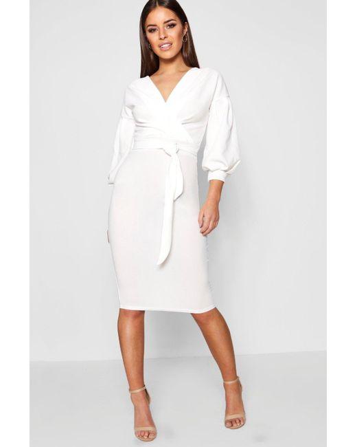 6d9046d95674c Boohoo - White Petite Off The Shoulder Wrap Midi Dress - Lyst ...
