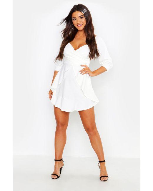 9ddc1e718118f Boohoo - White Ruffle Detail Wrap Skater Dress - Lyst ...