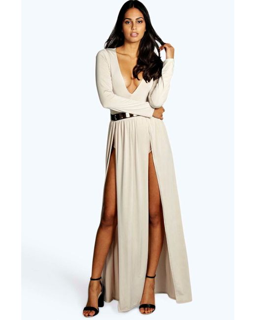 boohoo libby thigh split and gold belt maxi dress in