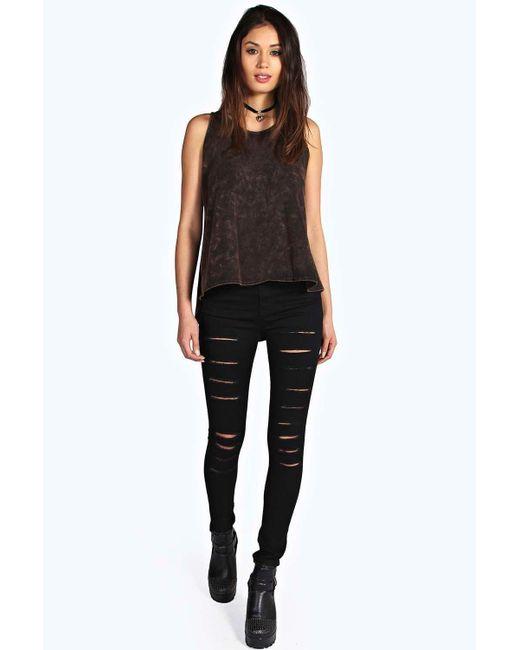 Boohoo Lara Skinny Slit Leg Tube Jeans In Black  Lyst-5943