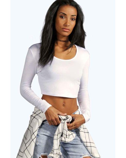 Boohoo Sasha Long Sleeve Crop Top in White | Lyst