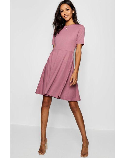 902cf71b60 Boohoo - Purple Tall Short Sleeve Skater Dress - Lyst ...