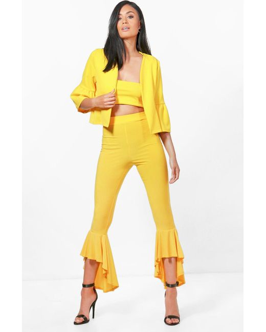 Boohoo | Yellow Cece 3pc Trouserbandeau&jacket Co-ord | Lyst