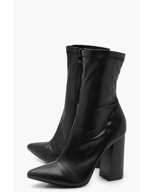 ad5cb358bed0 ... Boohoo - Black Block Heel Sock Boots - Lyst ...