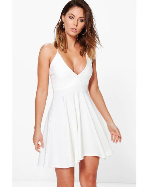 Boohoo Womens Strappy Plunge Neck Skater Dress - White - 4