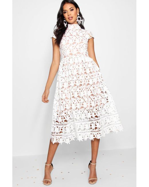 797df092a9d Boohoo - White Boutique Lace High Neck Skater Dress - Lyst ...