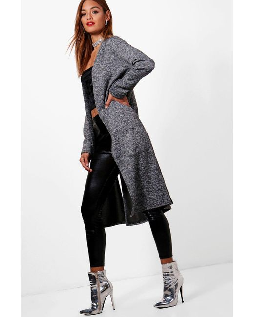 Boohoo | Gray Holly Split Side Pocket Front Cardigan | Lyst