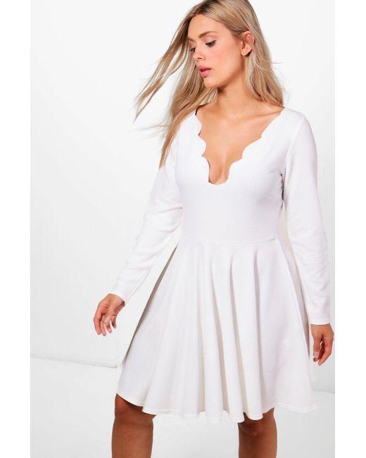 23b835d473b8f Boohoo - White Plus Nadine Long Sleeved Scallop Plunge Skater Dress - Lyst  ...