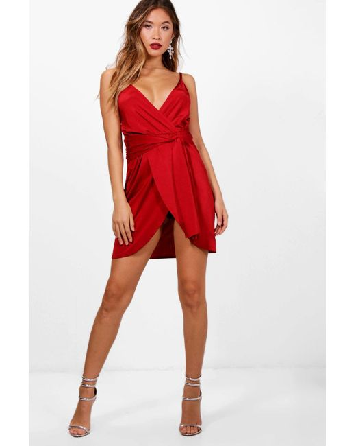 Boohoo - Red Reena Wrap Belted Bodycon Dress - Lyst ...