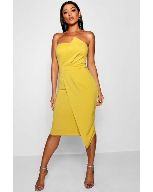 Boohoo - Yellow Zoey Bandeau Wrap Detail Midi Dress - Lyst