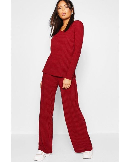 8bff6e2465 Boohoo - Red Rib Wide Leg Trouser Co-ord - Lyst ...