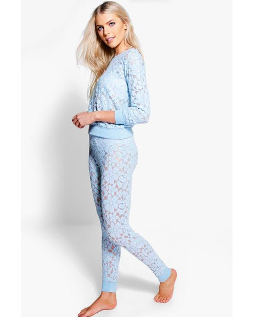 Boohoo | Blue Megan Floral Lace And Mesh Lounge Set | Lyst