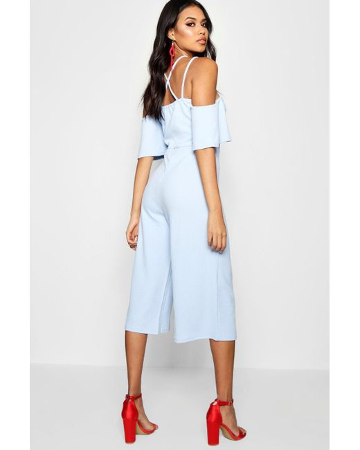 109cf070071c ... Boohoo - Blue Open Shoulder Culotte Jumpsuit - Lyst ...