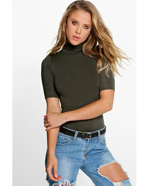 Boohoo | Natural Lara Turtle Neck Short Sleeved Top | Lyst