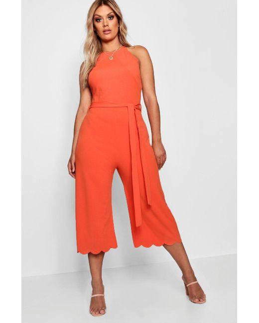 ed357418b44 Boohoo - Orange Plus Scallop Edge Wide Leg Jumpsuit - Lyst ...