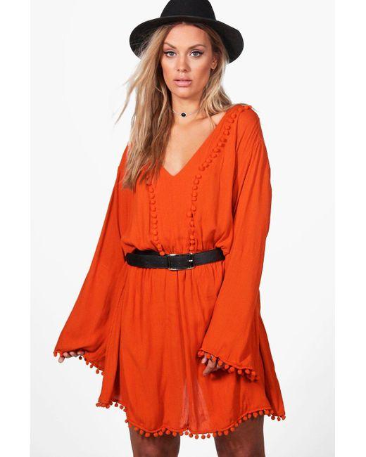 Boohoo | Orange Plus Casey Pom Pom Plunge Skater Dress | Lyst