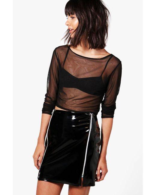 Boohoo   Black Aurora High Shine Patent Zip Front Mini Skirt   Lyst