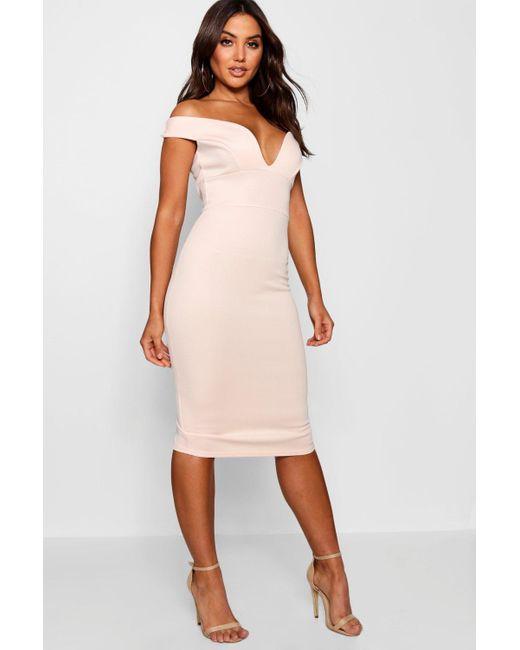 Boohoo - Pink Sweetheart Off Shoulder Bodycon Midi Dress - Lyst ... 08101b7b4