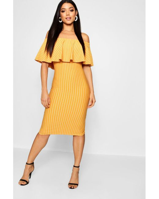 aaea9d8dd758 Boohoo - Yellow Off The Shoulder Stripe Midi Dress - Lyst ...