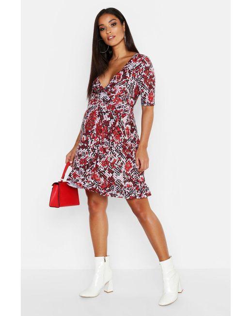 572a663b5d Boohoo - Red Maternity Snake Print Wrap Frill Dress - Lyst ...
