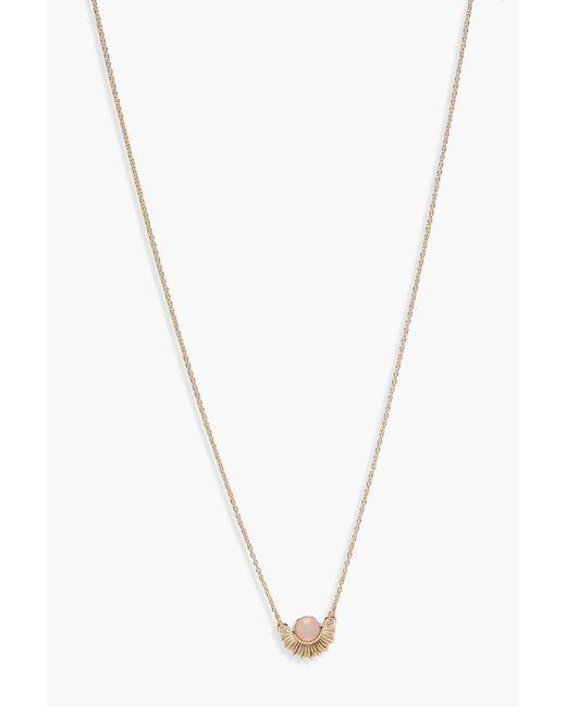 Boohoo - Metallic Sun Stone Skinny Necklace - Lyst