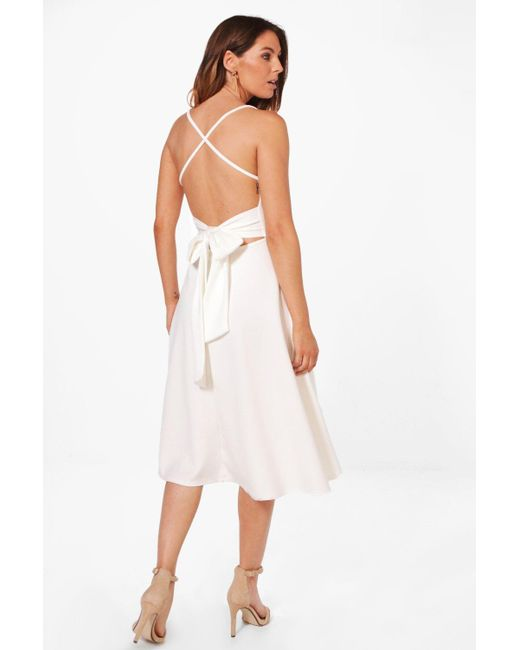 Boohoo - White Yasmin Tie Back Detail Midi Skater Dress - Lyst ...