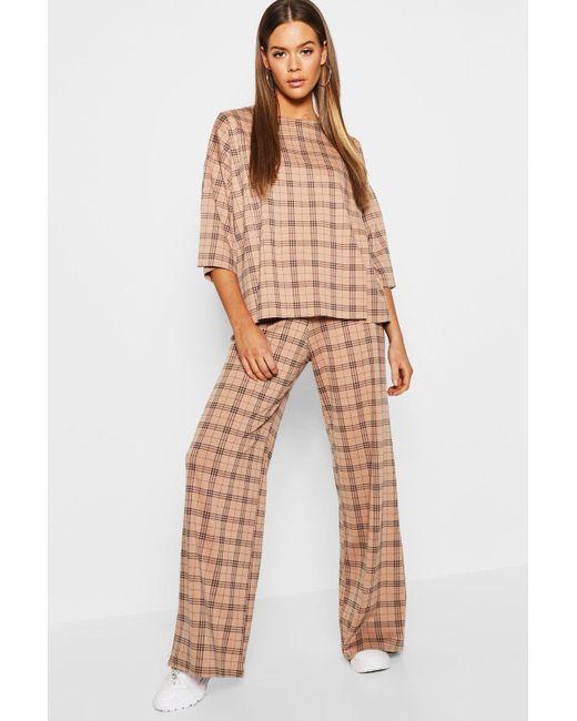 1ac82149e98b Boohoo - Multicolor Check Split Oversize Tee + Trouser Co-ord - Lyst ...