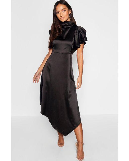 67e5a4d35fd9 Boohoo - Black Petite Satin Asymmetric Midi Dress - Lyst ...