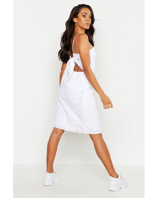 40a32ea0823e Boohoo - White Broiderie Anglaise Cut Back Summer Dress - Lyst ...