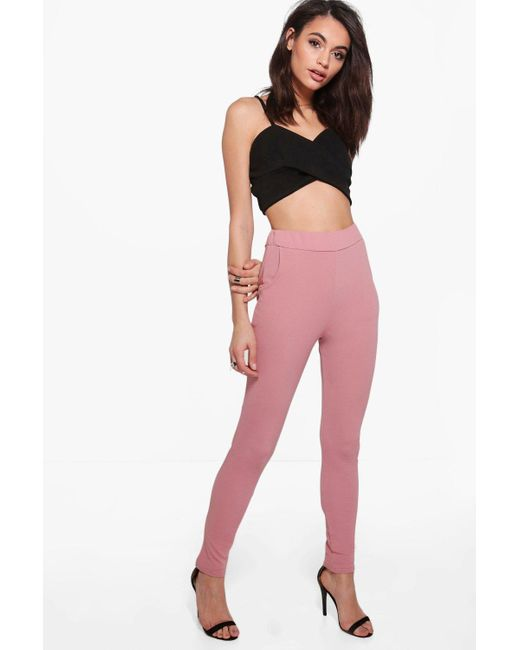 Boohoo - Pink Basic Crepe Stretch Skinny Pants - Lyst