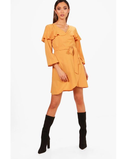 Boohoo - Multicolor Sleeve Woven Tea Dress - Lyst