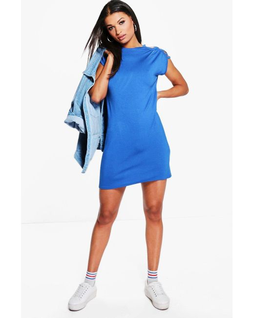 Boohoo | Blue Elvira Cut Out Shoulder Shift Dress | Lyst