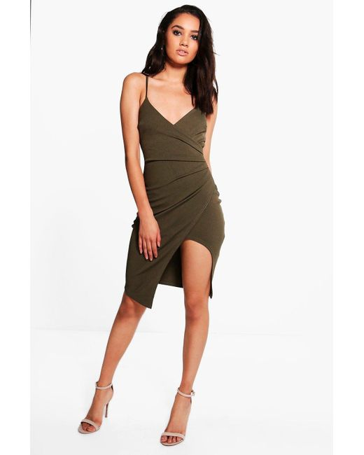 Boohoo - Green Petite Strappy Wrap Asymmetric Dress - Lyst