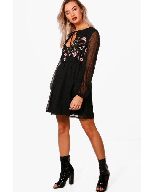 9acd177d7abb Boohoo - Black Embroidered Spot Chiffon Skater Dress - Lyst ...
