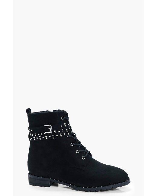 Boohoo | Black Heidi Pin Stud Hiker Boot | Lyst