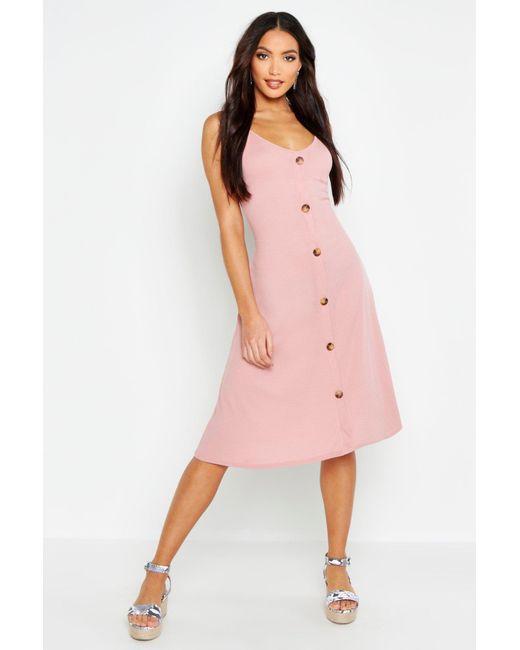 6d23e9fd2215 Boohoo - Pink Ribbed Button Down Midi Swing Dress - Lyst ...