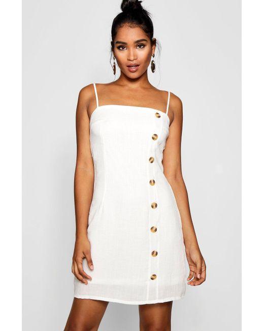 5406bfd097 Boohoo - White Mock Horn Button Linen Mini Dress - Lyst ...