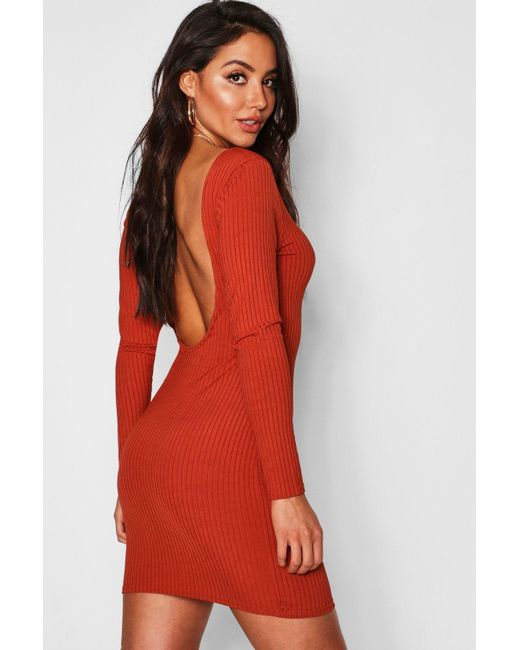 a56c10d3a030 Boohoo - Red Jumbo Rib Long Sleeve Backless Mini Dress - Lyst ...