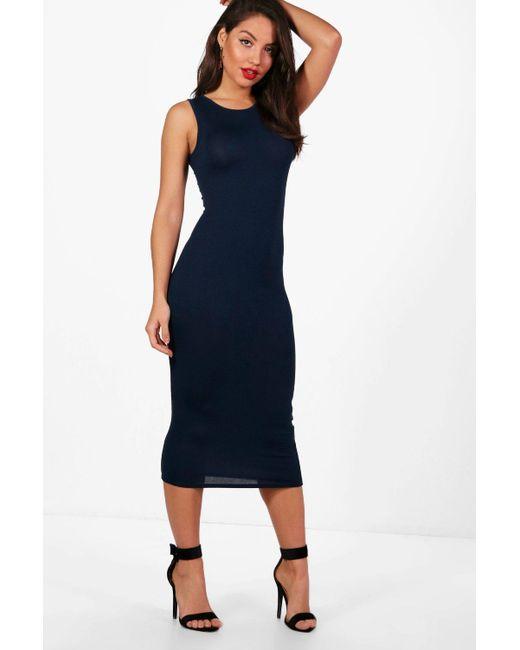 bc1e5fc4b49e Boohoo - Blue Sleeveless Midi Dress - Lyst ...