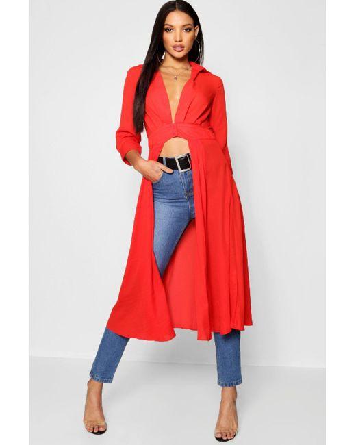 b735e91ab68 Boohoo - Red Plunge Neck Split Maxi Shirt - Lyst ...