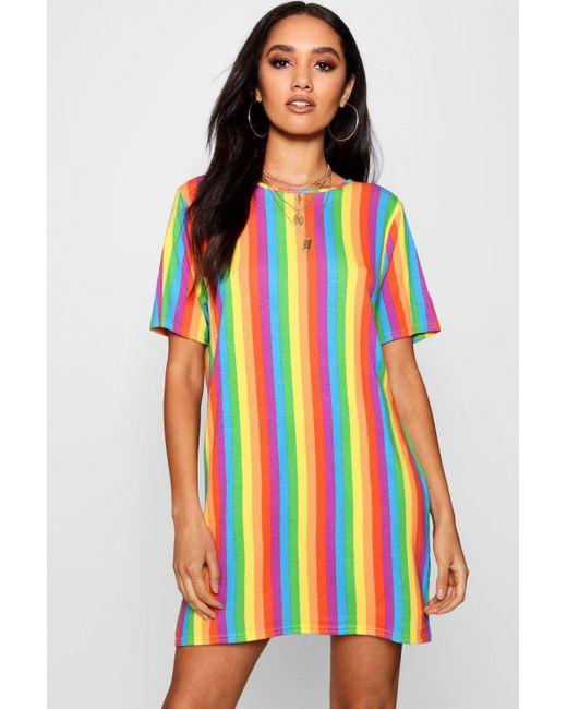 Boohoo - Multicolor Petite Rainbow T-shirt Dress - Lyst