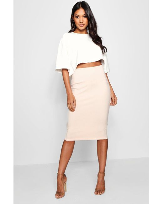 a855b592a Boohoo - Pink Boxy Crop And Midi Skirt Co-ord - Lyst ...